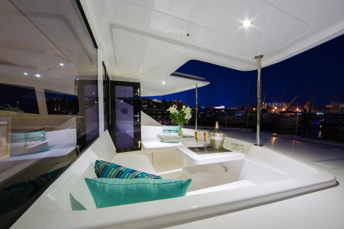 sitting area in back side of yacht
