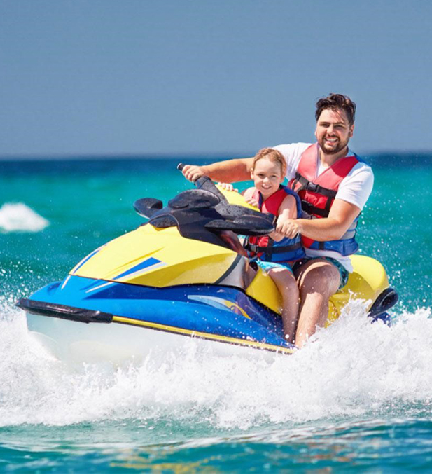 Father Daughter Riding Jetski - Add on Service Yacht Rental