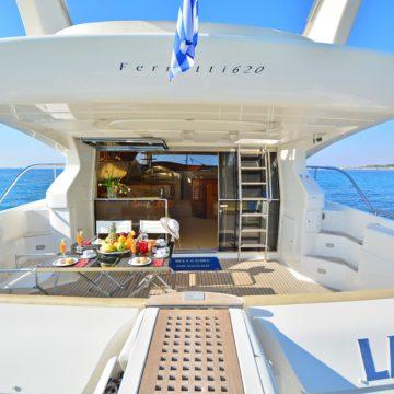 top deck sitting area - lady a yacht - yachts rental dubai