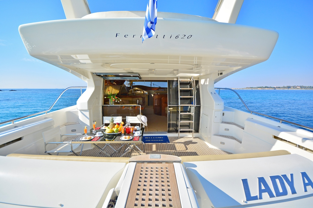 top deck sitting area - lady a yacht - yachts rental dubai