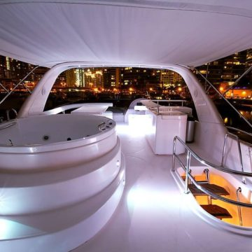flybridge - 62 ft White Luxury Ferretti Yachts Rental Dubai