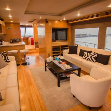 saloon - 62 ft White Luxury Ferretti Yachts Rental Dubai