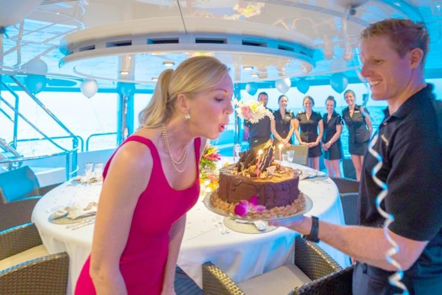 girl celebrating her birthday on a yacht
