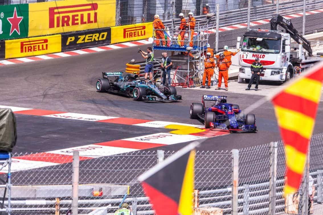 formula racing cars on track